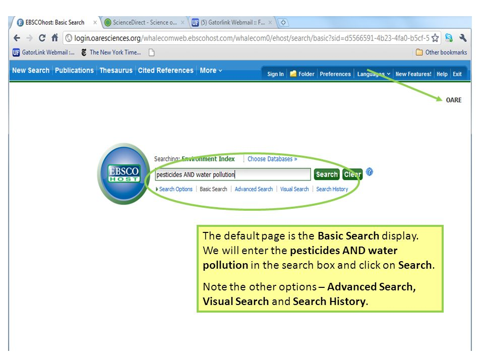 The default page is the Basic Search display