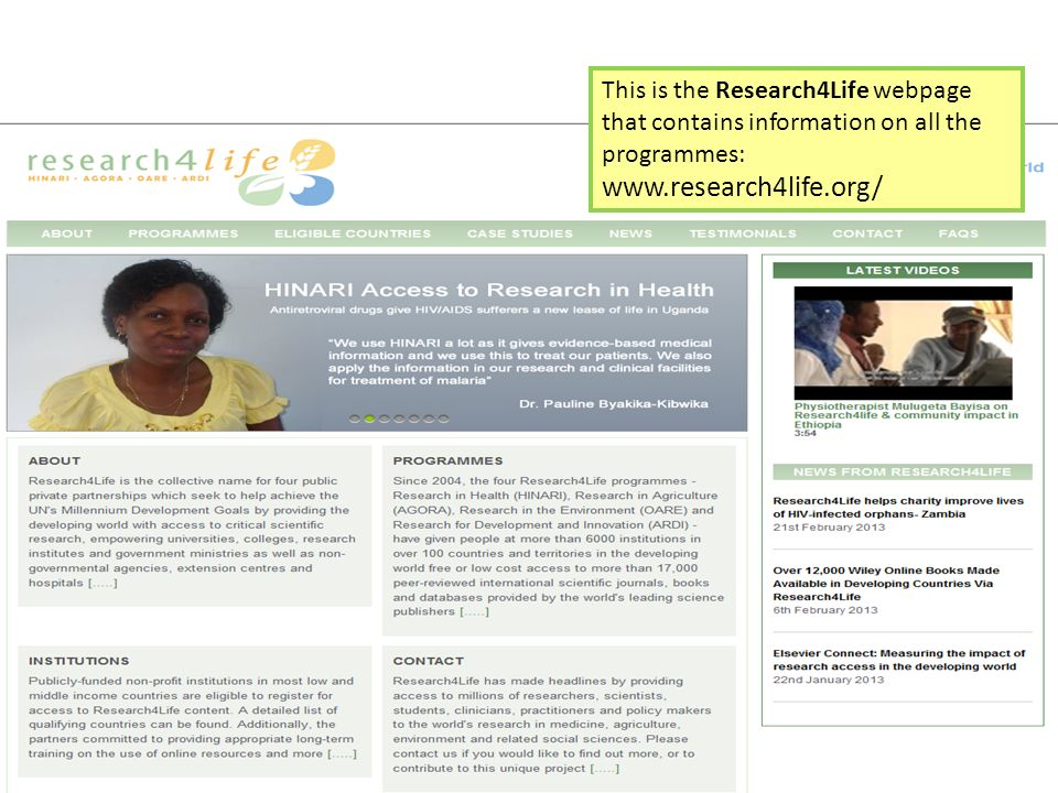 This is the Research4Life webpage that contains information on all the programmes: