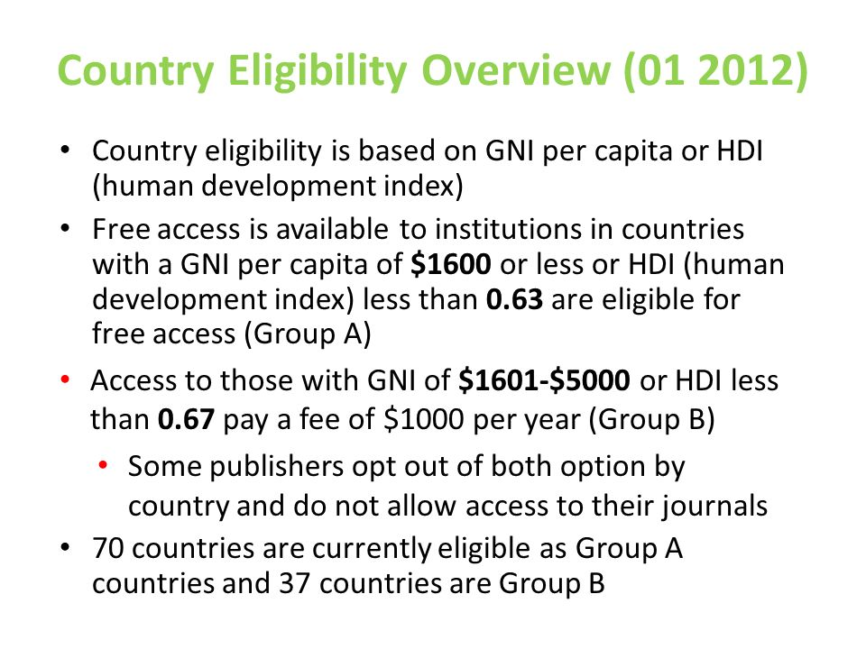 Country Eligibility Overview ( )