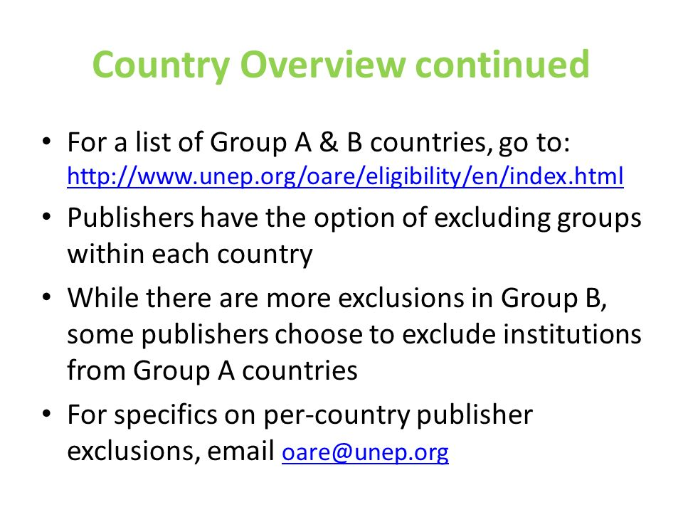 Country Overview continued