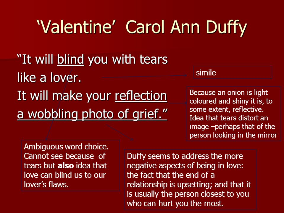 valentine poem by carol ann duffy analysis