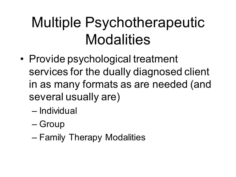 Multiple Psychotherapeutic Modalities