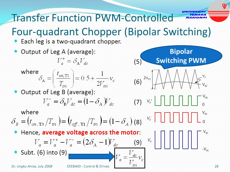 Transfer Function PWM-Controlled Four-quadrant Chopper (Bipolar Switching)