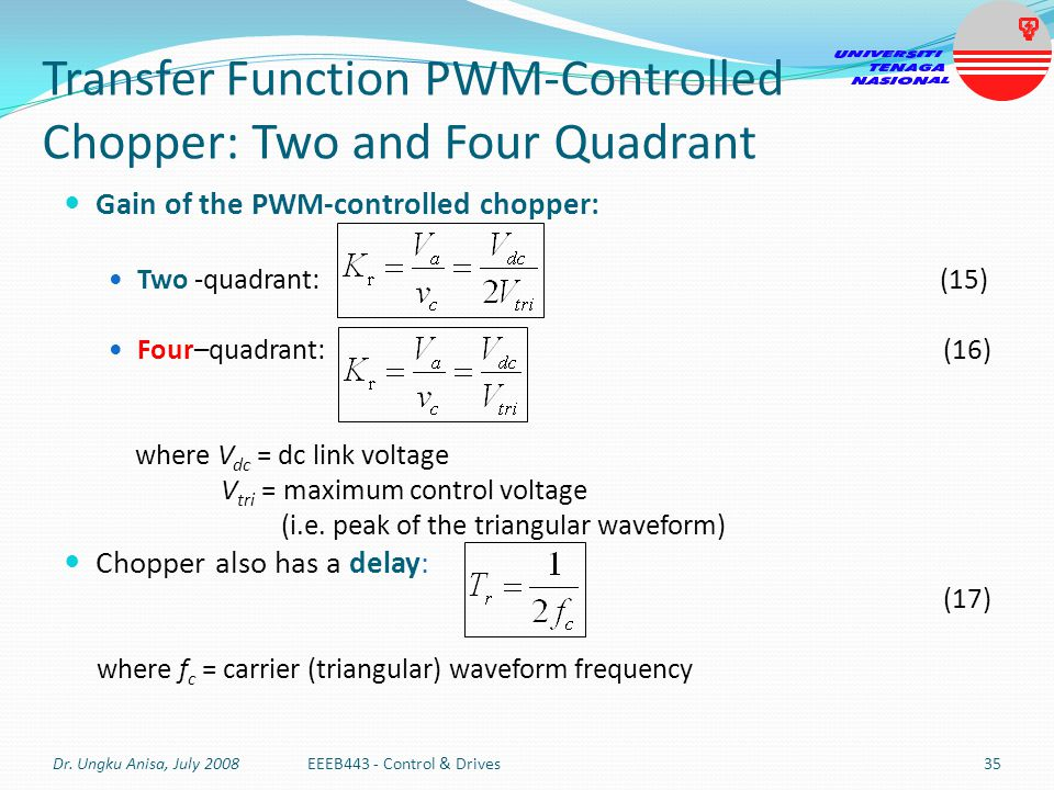Transfer Function PWM-Controlled Chopper: Two and Four Quadrant