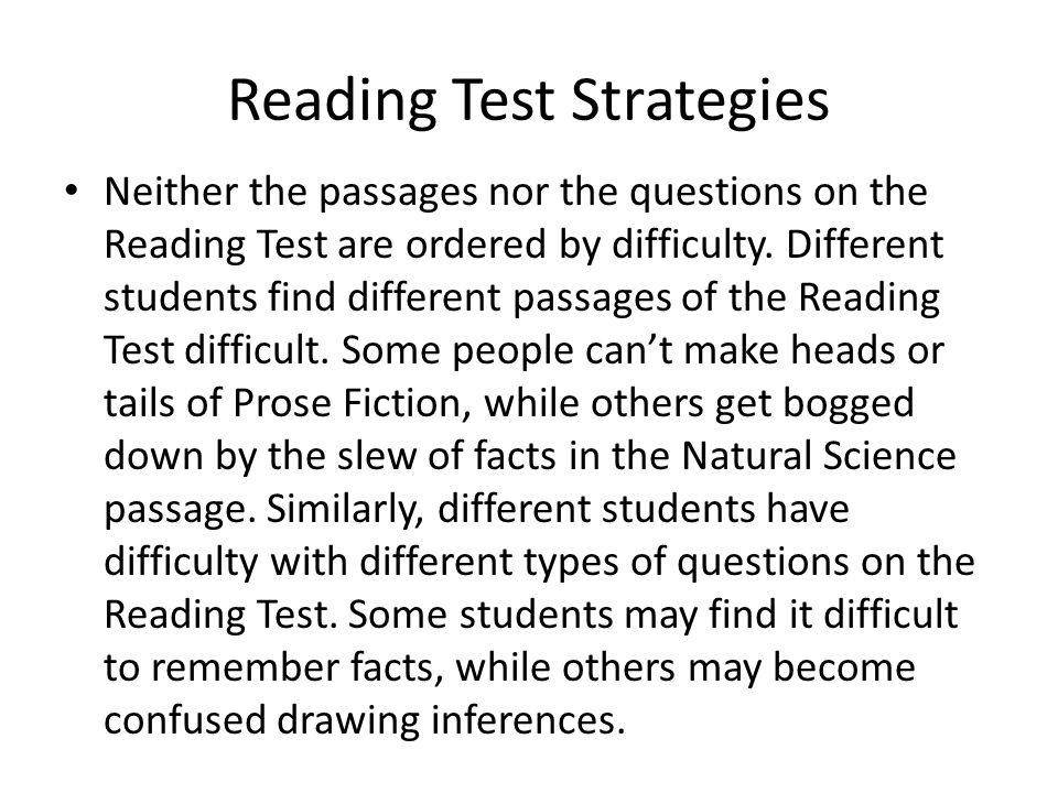 Reading Test Strategies