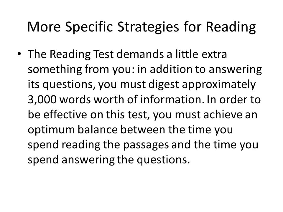 More Specific Strategies for Reading