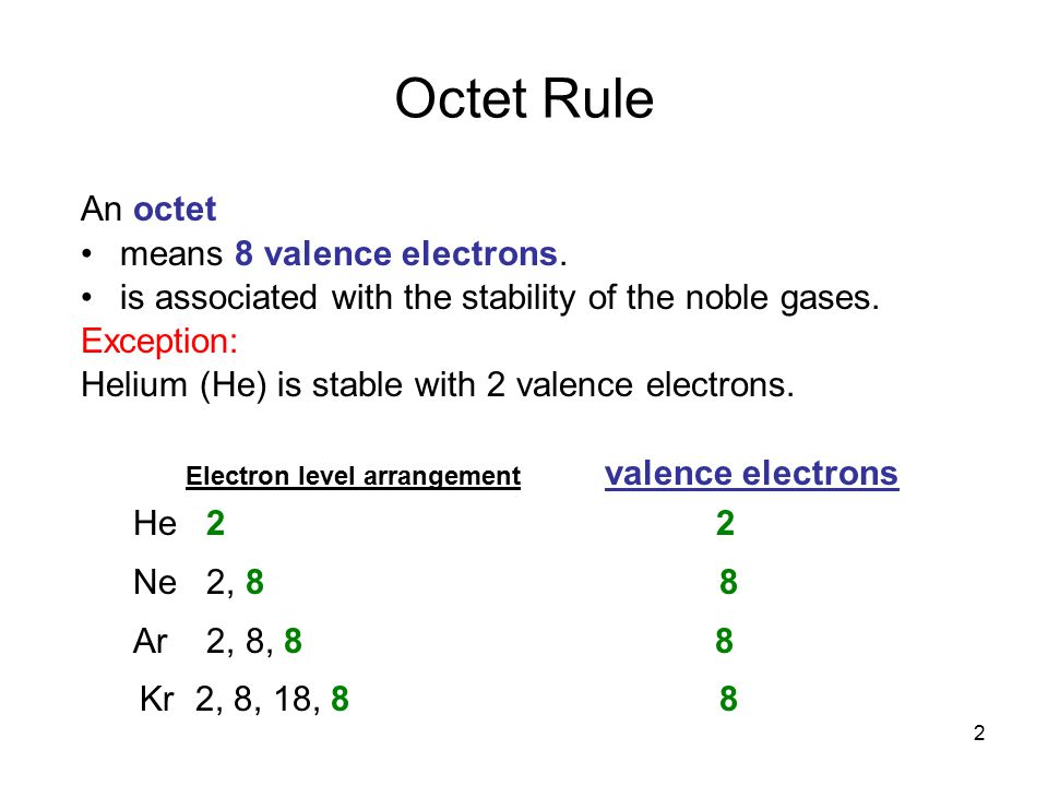 Octet Rule An octet means 8 valence electrons.