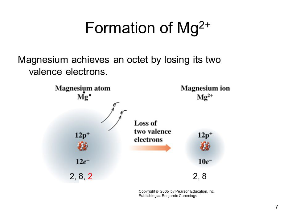 Formation of Mg2+ Magnesium achieves an octet by losing its two valence electrons. 2, 8, 2. 2, 8.