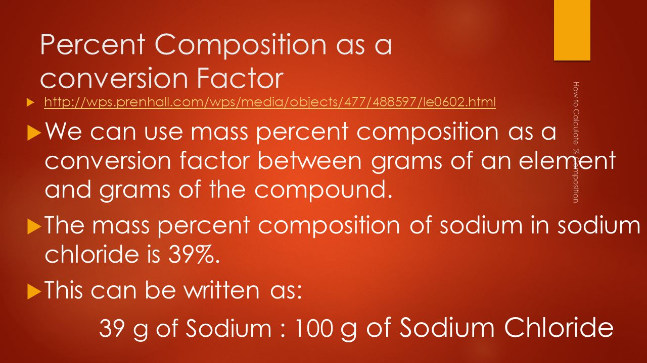 aim how to calculate percent composition ppt download