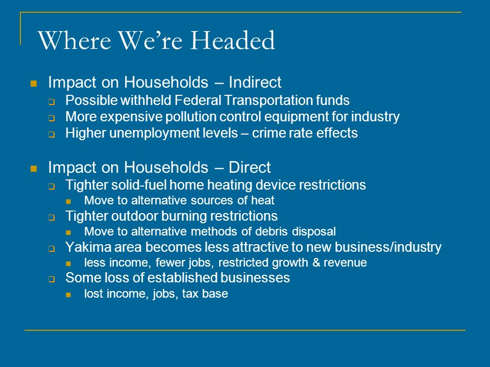 Where We're Headed Impact on Households – Indirect