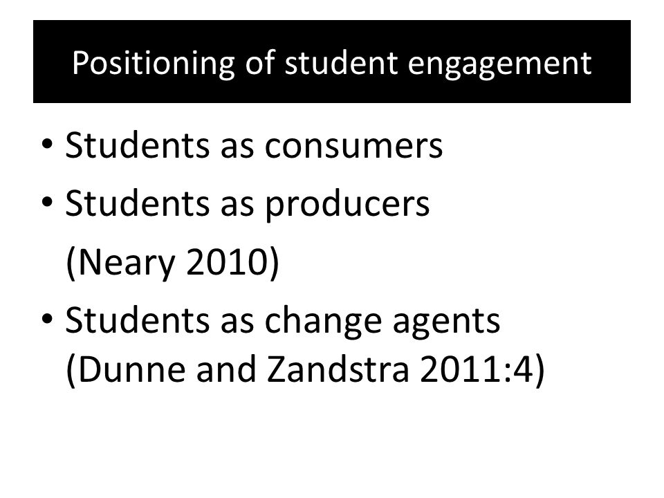 Positioning of student engagement