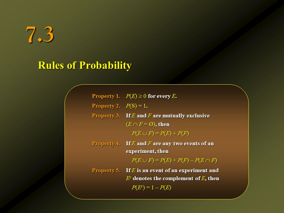 7.3 Rules of Probability Property 1. P(E)  0 for every E.