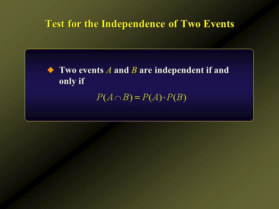 Test for the Independence of Two Events