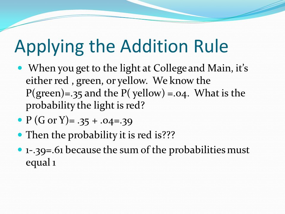 Applying the Addition Rule
