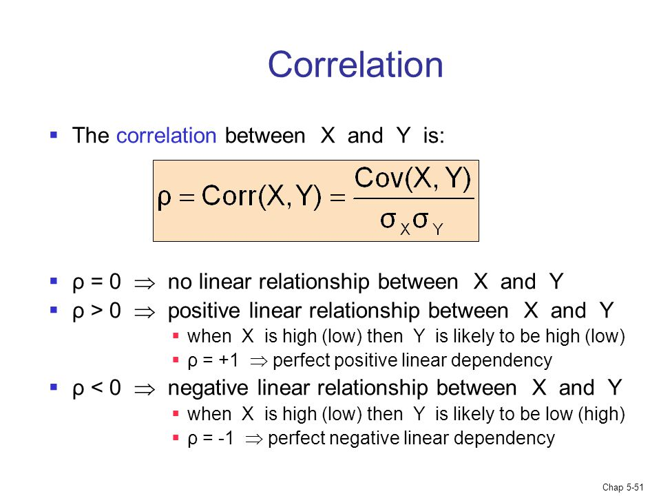 Correlation The correlation between X and Y is: