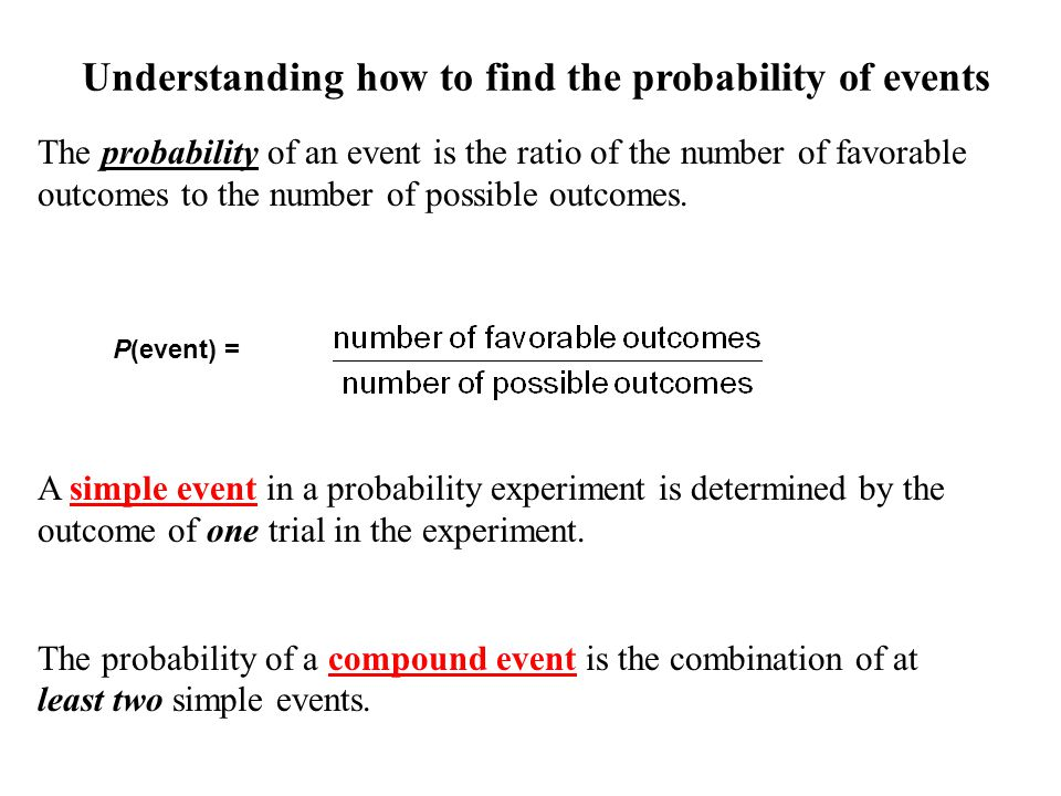 Understanding how to find the probability of events