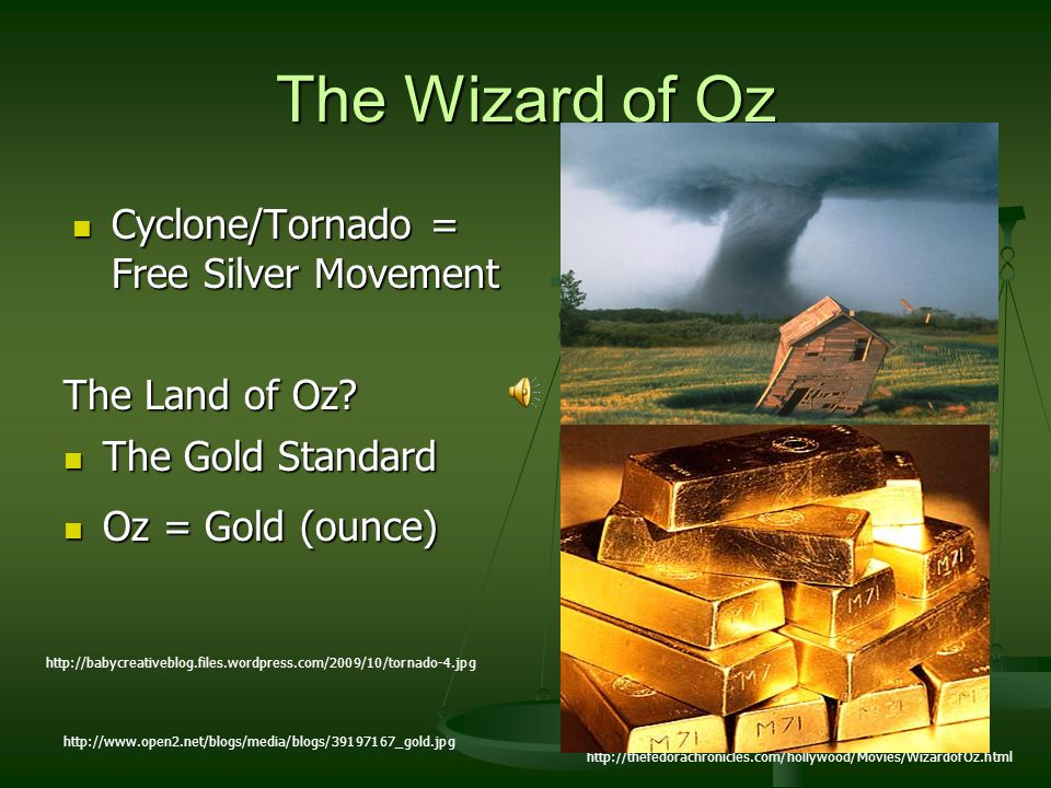 The Wizard of Oz Cyclone/Tornado = Free Silver Movement