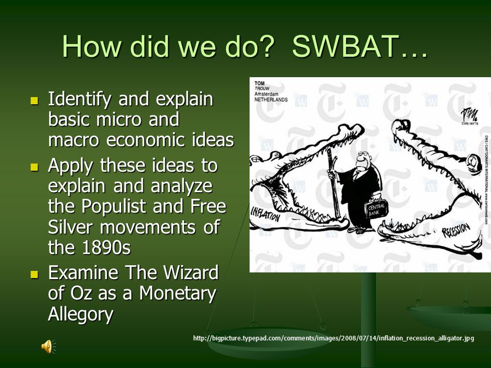 How did we do SWBAT… Identify and explain basic micro and macro economic ideas.
