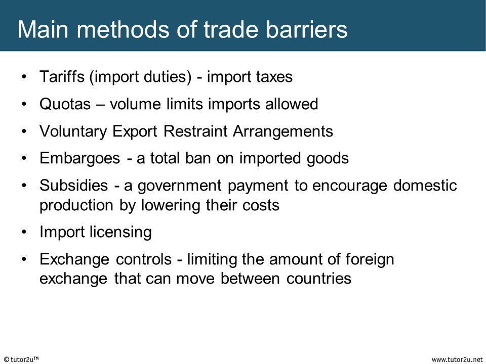 Main methods of trade barriers