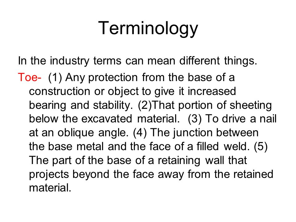 Terminology In the industry terms can mean different things.