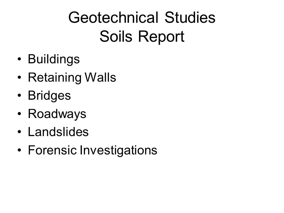 Geotechnical Studies Soils Report