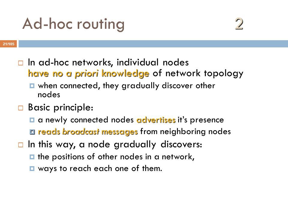 Ad-hoc routing 2 In ad-hoc networks, individual nodes have no a priori knowledge of network topology.