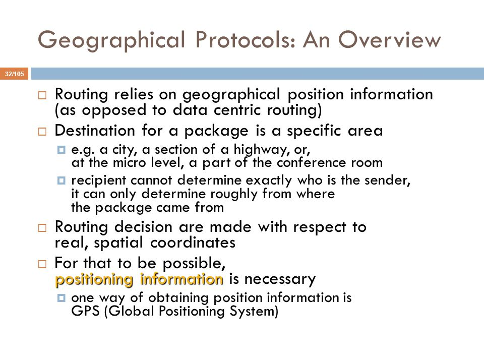 Geographical Protocols: An Overview