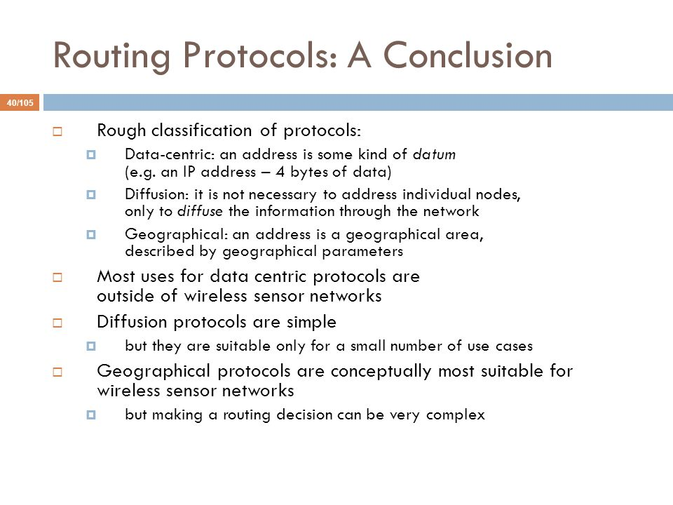 Routing Protocols: A Conclusion