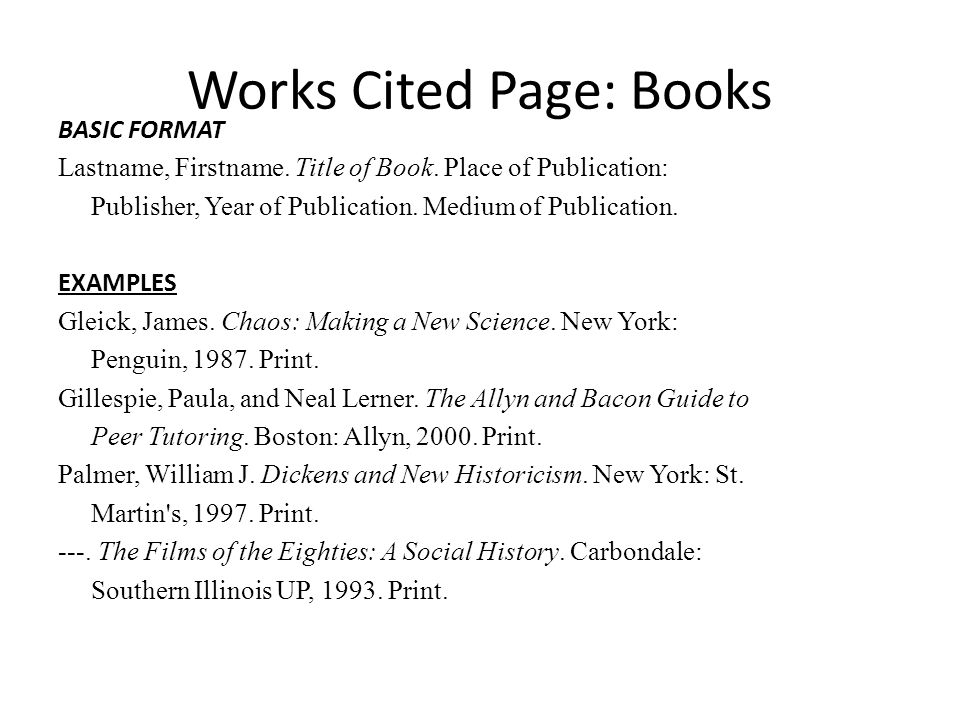 Works cited mla format book example