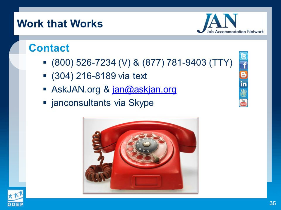 Work that Works Contact (800) (V) & (877) (TTY)