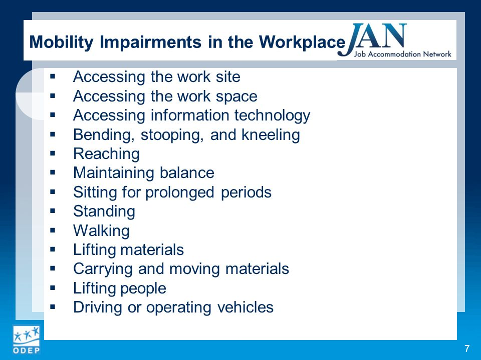 Mobility Impairments in the Workplace