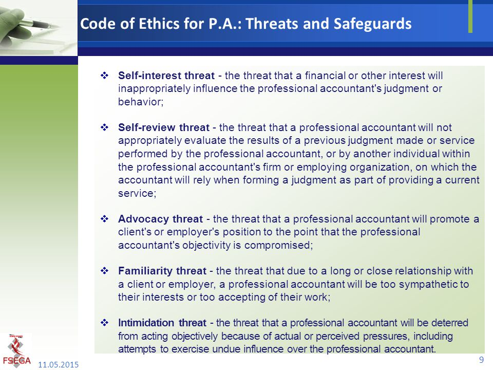 Code of Ethics for P.A.: Threats and Safeguards