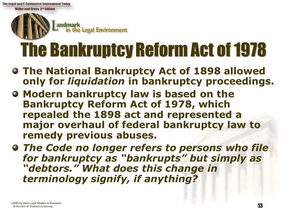 chapter 15 creditors\u0027 rights and bankruptcy ppt video online downloadthe bankruptcy reform act of 1978