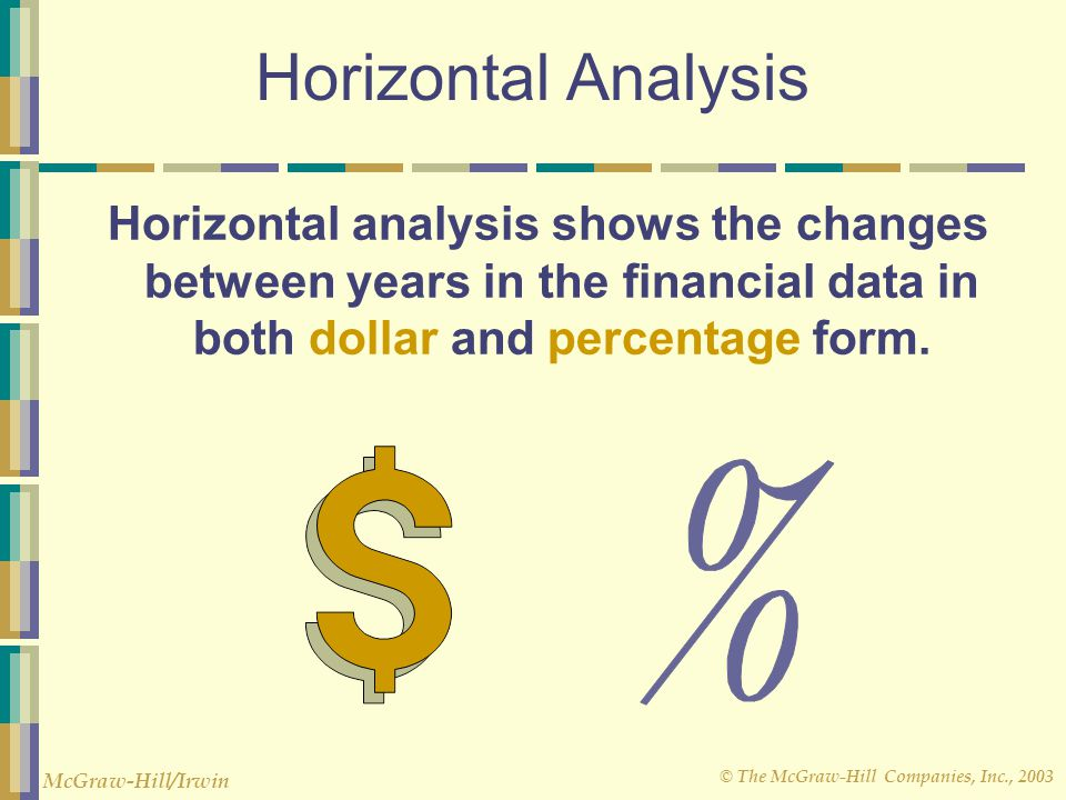 Horizontal Analysis Horizontal analysis shows the changes between years in the financial data in both dollar and percentage form.