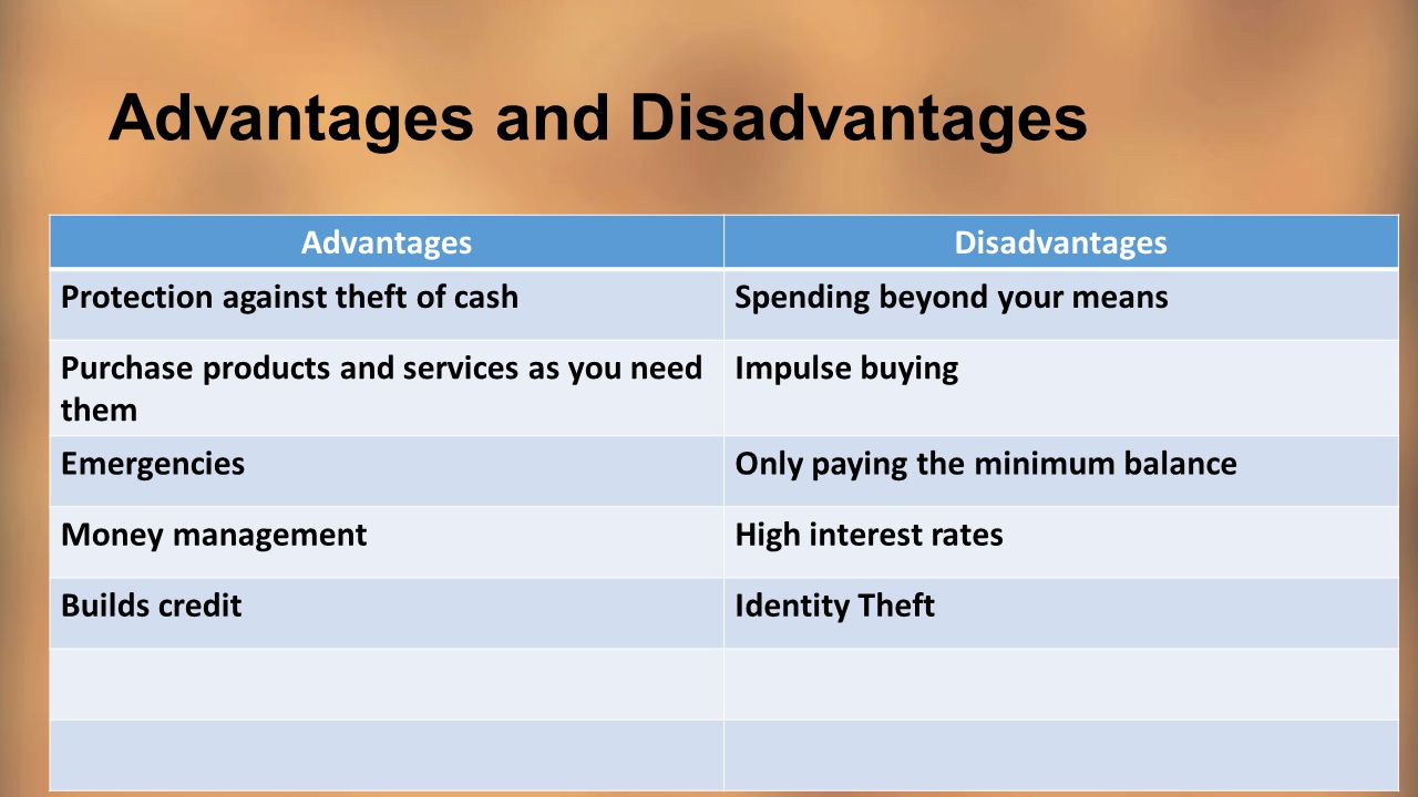 Advantages Of Credit Card >> Credit Cards And Credit Scores Ppt Video Online Download