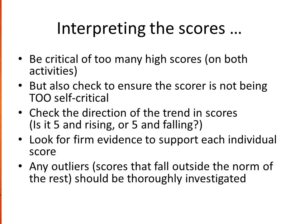 Interpreting the scores …