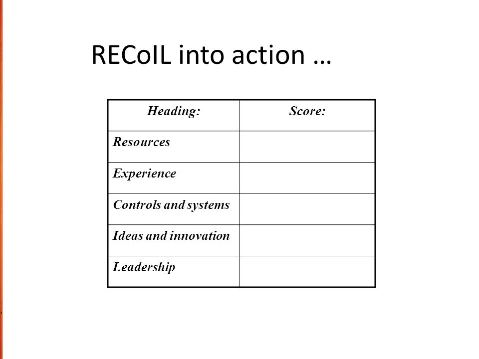 RECoIL into action … Heading: Score: Resources Experience