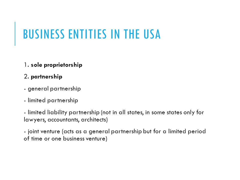 Business entities in the usa