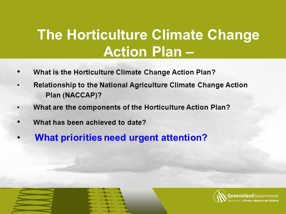 The Horticulture Climate Change Action Plan –
