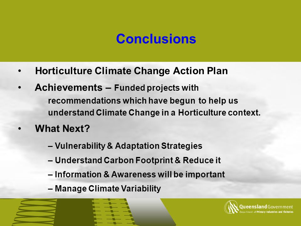 Conclusions Horticulture Climate Change Action Plan
