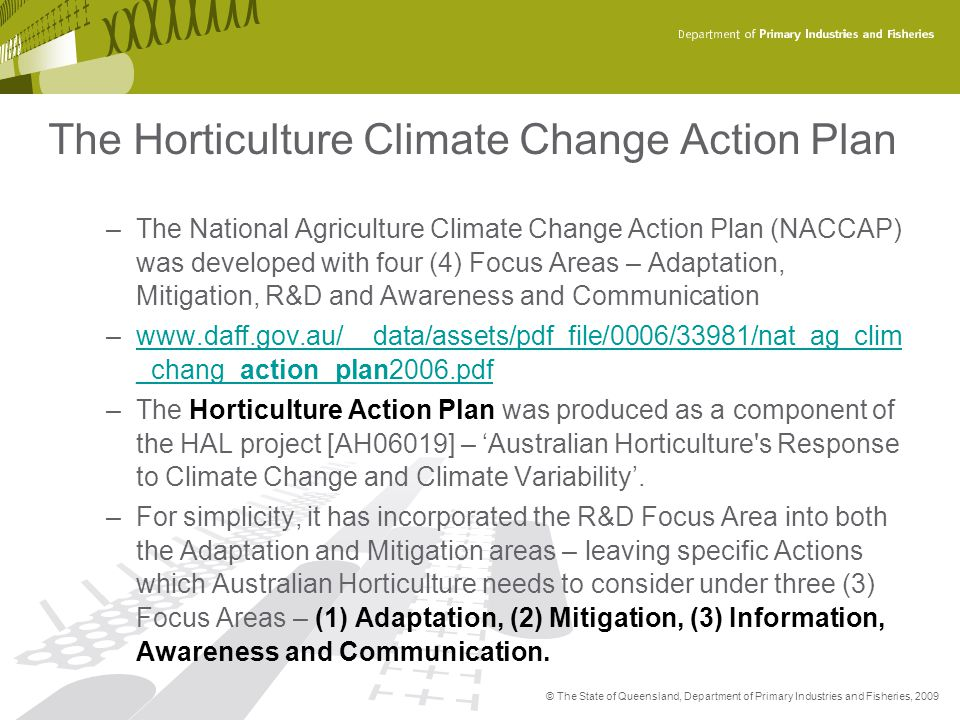 The Horticulture Climate Change Action Plan
