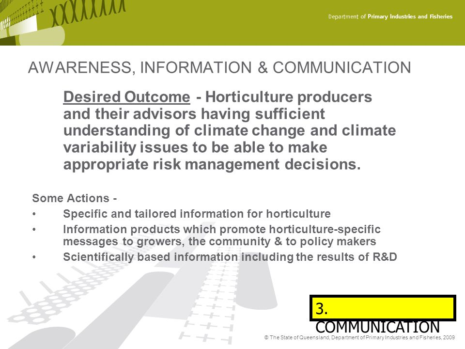 AWARENESS, INFORMATION & COMMUNICATION