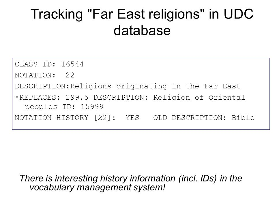 Tracking Far East religions in UDC database