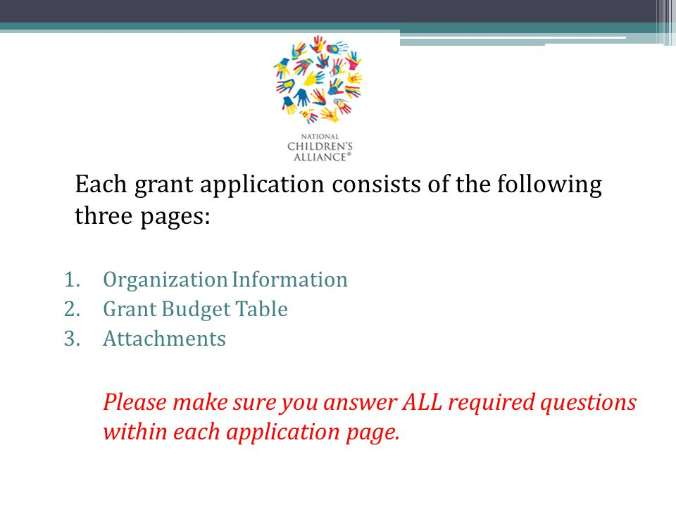 Each grant application consists of the following three pages: