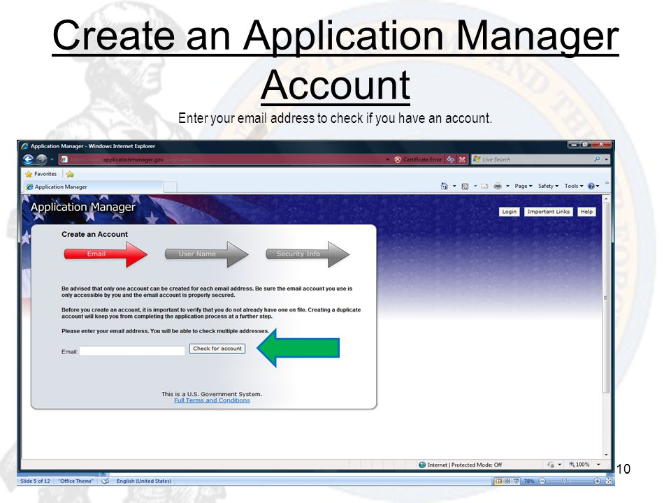 Create an Application Manager Account Enter your  address to check if you have an account.