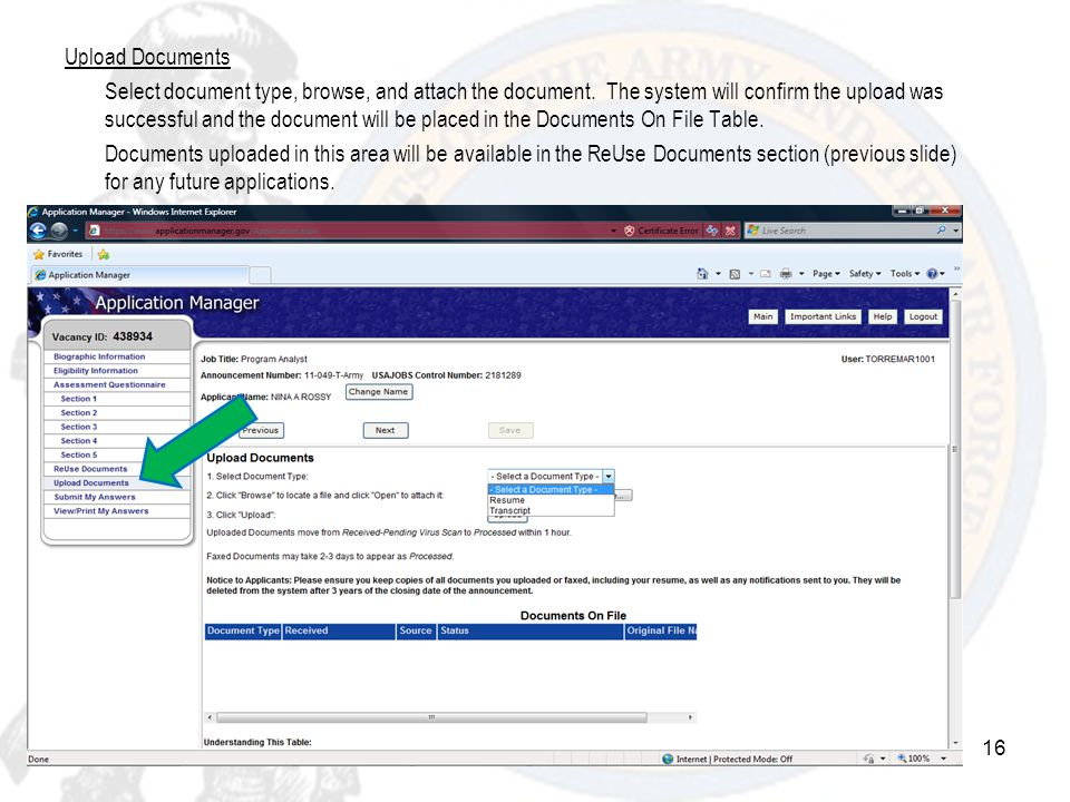 Upload Documents Select document type, browse, and attach the document