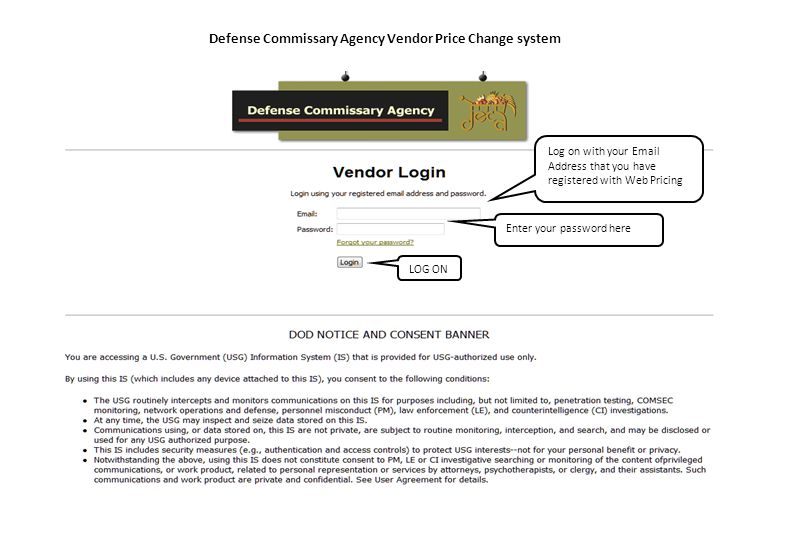 Defense Commissary Agency Vendor Price Change system