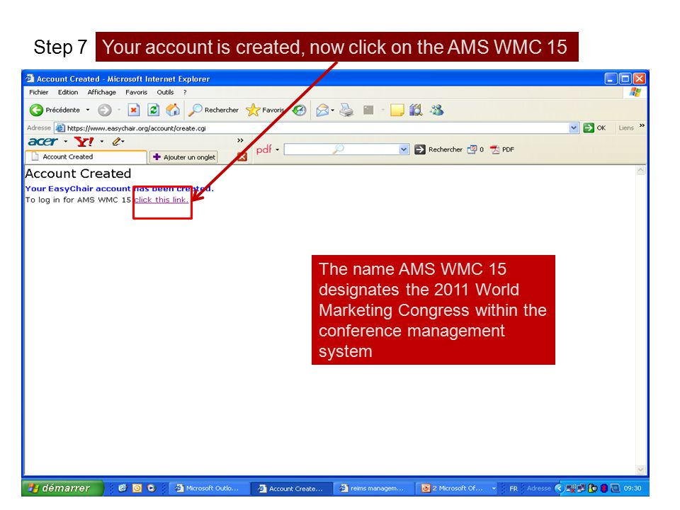Your account is created, now click on the AMS WMC 15