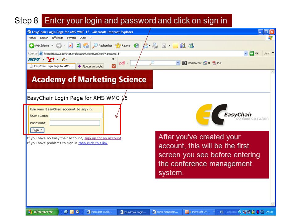 Enter your login and password and click on sign in