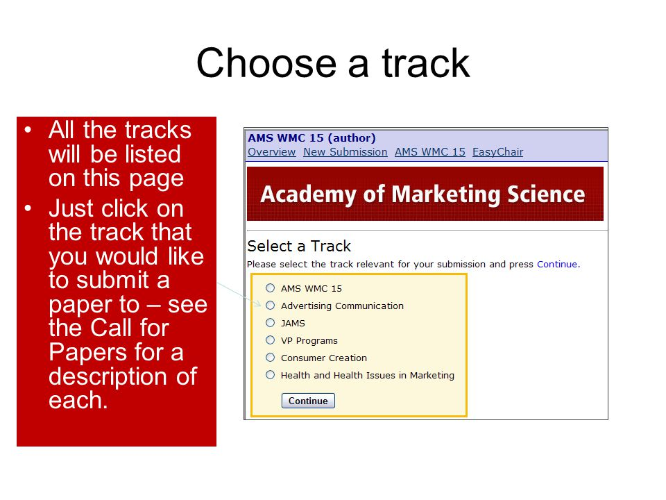 Choose a track All the tracks will be listed on this page
